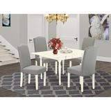 Ophelia & Co. Bohanan Drop Leaf Rubberwood Solid Wood Dining Set Wood/Upholstered Chairs in Brown/White, Size 30.0 H in | Wayfair