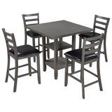 August Grove® 5-Piece Wooden Counter Height Dining Set, Square Dining Table w/ 2-Tier Storage Shelving & 4 Padded Chairs in Brown/Gray   Wayfair