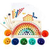 Novobey Wooden Peg Board Beads Game, Wooden Go Games Set Dots Shuttle Beads Board Games, Rainbow Clip Beads Puzzle Beads Board Games Toy with Rainbow Beads, Clip, Chopsticks, Shovel, Storage Bowl