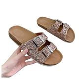 Ladies Flat Heel Comfy Sandals, Women Flat-bottomed Comfortable Slip-on Sandals,Beach Casual Sandals Shallow Slipper Shower Shoes