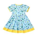 Dinosaur Floral Pattern Dress Toddler Short Sleeves Pleated Dress Baby Dress