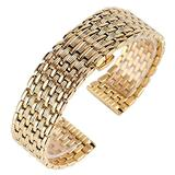 DFKai1run Stainless Steel Strap, 18mm20mm22mm Strap Gold Stainless Steel Strap Men's and Women's Watch Replacement Fashion Sports (Band Width : 20mm)