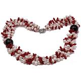 """MiGePin Pearl Necklace Three Strand Necklace 6-7mm White Freshwater Pearl and 4x10mm Coral Beads Necklace with Agate Beads for Women 20"""" 0.99"""