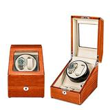 N\C YSAS Double Watch Winder for Automatic Watches and 3 Watch Storage Space with Flexible Watch Pillows Wooden Shell Powered by Motor fit Man Women Automatic Watch