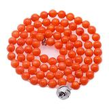 """MiGePin Orange Coral Necklace Natural 5mm Round Orange Sea Bamboo Coral Beaded Necklace Strand for Women 18"""""""