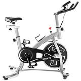 Exercise bike Stationary Professional Indoor Cycling Bike Exercise Bike Spin Bike S280 Trainer Exercise Bicycle Flywheel Silver Belt Drive System LCD Monitor Home Workout