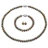 MiGePin Pearl Necklace Earrings Set 7-8mm Peacock Green Flat Freshwater Pearl Necklace Bracelet and Earring Set for Women