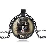 Necklace Pendant Vintage Cat Pendant Little Kitten Steampunk Cat Necklaces DIY Jewelry Long Chain Necklace for Women Christmas Mother's Day Valentine's Day Birthday Gift