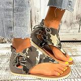 Oaimmk Women's Summer Thong Sandals Retro Boho T-Strap Backstrap Sandal Casual Beach Shoes T-Strap Roman Open Toe Sandals,A,36 CN