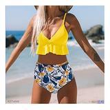 JJZY NDJPN Swimwear Women Bikini Bathing Suit Flounced Ruffles Swimwear Push Up Bikini Women's High-Waisted Bikini Beachwear Swimsuit Women (Color : Yellow, Size : Medium)