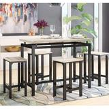 AWQM Bar Table Set, Modern Pub Bar Dining Table Set, 5 Pcs Kitchen Counter with Bar Stools, Bar Table and Chairs Set, Kitchen Dining Table Set for Pub/Dining Room, Beige