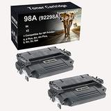 2-Pack Compatible Toner Cartridges Used for 4, 4 Plus, 4m, 4m Plus, 5, 5m, 5n, 5se Laser Printer Cartridges Replacement for HP 98A 92298A Toner Cartridges (Black, High Yield)