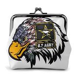 Us Army Cool American Flag Eagle Printed Buckle Coin Purse Small Kiss-Lock Change Pouch Travel Makeup Wallets For Men Women