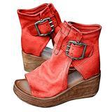 Women's Boho Comfy Buckle Wedge Sandals - Sandals for Women Wedge, 2021 Fashion Ankle Buckle Sandals Womens Platform Wedge Sandal Ankle Strap Open Toe Sandals High Heel (Red, numeric_6)