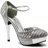 Enzo Romeo Angie15 Womens Open Toe High Heel Wedding Rhinestone Mesh Sling Back Sandal Wedge Shoes (Silver (20), numeric_10)