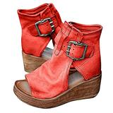 Women's Boho Comfy Buckle Wedge Sandals - Sandals for Women Wedge, 2021 Fashion Ankle Buckle Sandals Womens Platform Wedge Sandal Ankle Strap Open Toe Sandals High Heel (Red, numeric_11)