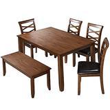LALUZ Furniture Rectangular Dining Set for Home Kitchen Dining Room, Rubber Wood
