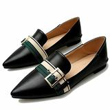 JRYⓇ Women's Leather Loafers Moccasins - Comfy Leather Work Shoes Low Upper Wedge Heel Shoes Buckle Design Fashion Pointed Driving Shoes Black