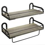 Ophanie Floating Shelves Wall Mounted Set of 2, Rustic Wood Wall Storage Shelves Organizer for Kitchen, Bathroom, 6 S-Shape Hooks Included