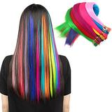 Synthetic I Tip Keratin Fusion Hair Extensions Kit Various Colors 21 Inch 90-100 Strands/Pack Keratin Tip Stick Hair Extensions with 100 Pcs 5mm Silicone Lined Micro Rings Links Beads, 1 Pcs Plier (I-Tip 55cm) (Multi-Colors Kit)