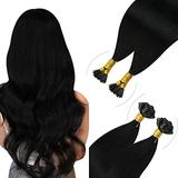 YoungSee 14inch Jet Black I Tip Hair Extensions and U Tip Hair Extensions Remy Pre Bonded Human Hair Extensions Fusion Hair Extensions 50gram