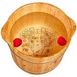 LIZHIQIANGLZQzuyupen Pedicure Bowl Wooden Foot Basin,Solid Cedar Wood Foot Basin Tub Bucket for Foot Bath,Pedicure Bowl Spa Massage Wooden Foot Tub,with Lid with Massager