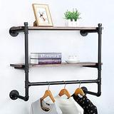 Industrial Pipe Clothing Rack Wall Mounted with Real Wood Shelf,Rustic Retail Garment Rack Display Rack Cloths Rack,Pipe Shelving Floating Shelves Wall Shelf,30in Steam punk Commercial Clothes Racks
