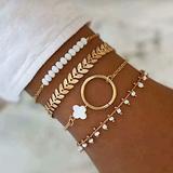 4PCS Multilayer Bracelet Set for Women Bangle Open Adjustable Cuff Bracelet Wire Stackable Wrap Jewelry (B)