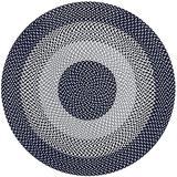 MAIGOU Round Jute Rug Hand Woven Area Rug Natural Diameter 80cm/100cm/120cm/150cm-100×100cm_Blue Baifantastic