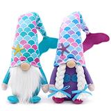 Mermaid Gnome Couple Summer Tomte Plush Farmhouse Beach Elf Dwarf Mermaid Tail Nisse Birthday Gifts Handmade Scandinavian Summer Home Ornaments Collections Kitchen Tiered Tray Decorations Set of 2