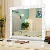"""Vanity Mirror Makeup Mirror with Lights, Large Lighted Vanity Mirror with 14 Dimmable LED Bulbs, 3 Color Modes, Touch Control for Dressing Room & Bedroom, Tabletop or Wall-Mounted, 26.7"""" L x 21.6"""" H."""