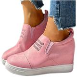 Black Sneakers Wedges Inner Height Sports Shoes Ladies Canvas Sandals Fashion All-Match Walking Comfy Sneakers