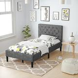 Giantex Twin Size Bed Frame, Upholstered Bed Base w/ Button Stitched Headboard, Bed Mattress Foundation w/ Metal Frame & 10 Solid Wooden Slat Support, No Box Spring Needed