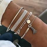 4PCS Multilayer Bracelet Set for Women Bangle Open Adjustable Cuff Bracelet Wire Stackable Wrap Jewelry (A)
