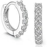 1 Pair of Ladies' Men's Earrings, Girls' Earrings, Fashion Jewelry Small 5a Cubic Zirconia Halo Earrings, Hypoallergenic Sterling Silver Girl's Earrings, 925 Sterling Silver (Silver)