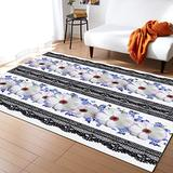 KITHOME Contemporary Non-Slip Area Rug White Daisy Black Lace with White Background Printed Rugs Art Carnival Rubber Backing Living Room Floor Mats Rectangle Area Rug Carpet for Indoor 2.7'x5'