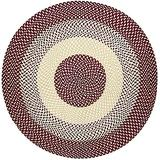 MAIGOU Round Jute Rug Hand Woven Area Rug Natural Diameter 80cm/100cm/120cm/150cm-80×80cm_Red Baifantastic
