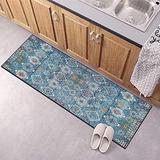 Hallway Runner Rug, Kitchen Floor Non Slip Runners 43Inch X 15Feet Indoor/Outdoor Runner Carpet Custom Length Home Decor Area Rug,Blue Floral