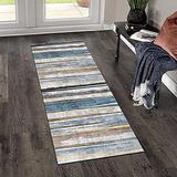 Hallway Runner Rug, Kitchen Floor Non Slip Runners 39.5Inch X 6Feet Indoor/Outdoor Runner Carpet Custom Length Home Decor Area Rug,Multicolor Stripe