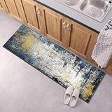 Runner Rug for Kitchen Floor Non Slip, Carpet Runner 20Inch X 8Feet Indoor/Outdoor Runner Carpet Custom Length Home Decor Area Rug,Blue Gold