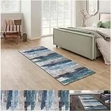 Runner Rug for Kitchen Floor Non Slip, Carpet Runner 43Inch X 6Feet Indoor/Outdoor Runner Carpet Custom Length Home Decor Area Rug,Grey Blue Geometry