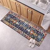 Runner Rug for Kitchen Floor Non Slip, Carpet Runner 23.5Inch X 3Feet Indoor/Outdoor Runner Carpet Custom Length Home Decor Area Rug,Retro Multicolor