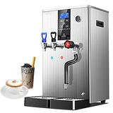 Hanchen Commercial Steam Milk Frother Multi-Purpose 20L Frothing Machine Three Nozzle Dual Temperature Display Boiled Water Machine, Electric Milk Foam Maker LED Display for Boba Tea Coffee Dessert Shop Hotel (Silver)