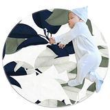 Round Kids Rug Round Carpet Circular Rug Round Floor mat Machine Washable Rug Blue Green and White Flowers 31.5x31.5IN