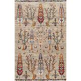Animal Pictorial Ziegler Area Rug Hand-Knotted Wool Carpet 3x4 (2' 9'' x 4' 1'')