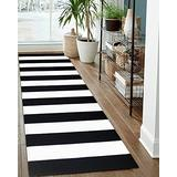 EARTHALL Black and White Striped Rug Runner 2.3'x6', Black Rug Runner Hallway Entry Carpet, Cotton Hand-Woven Washable Outdoor Rug Runner Entryway/Front Porch/Bedroom (27.5''x70.8'')