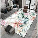Area Rug Non-Slip Floor Mat Tropical Seamless Pattern with Orchids Leaves and Gold Chains Indoor Outdoor Living Room Kids Room Bedroom Carpet Runner Rug Home Decor Doormat Yoga Mat Patio Mat