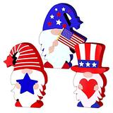 Hinbest Wooden Gnome Ornaments Wall Sculptures 4th of July Decorations Desktop Ornament Lovely 3PCS
