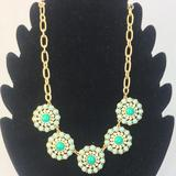 J. Crew Jewelry   J. Crew Flower Crystal Statement Necklace Blue   Color: Blue/Gold   Size: 16-18