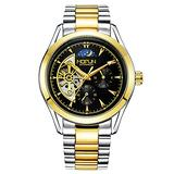 Men's Watch White Gold Strap Mechanical Stainless Steel Hollow Waterproof Black Dial Automatic Watch